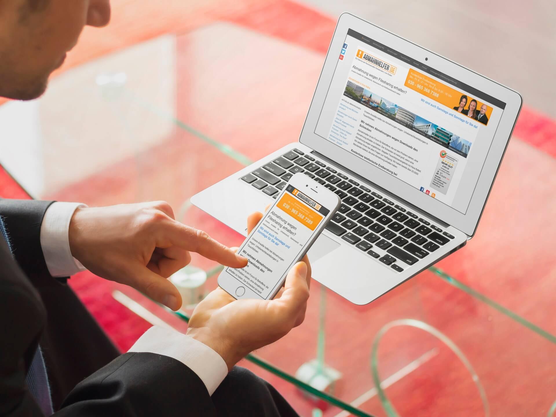 Anwalt Website Abmahnhelfer Screenshot